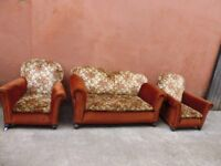 Two Seater Vintge Suite Drop End Sofa plus 2 armchairs Upholstery Project