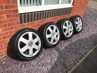 "Genuine Audi TT Mk1 Alloy Wheels with New Tyres*17""*5x100*Alloys*Centre Caps Included*VGC"