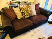 Brown and leather 3&2 seater sofas