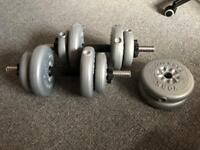 York dumbbell and weight set