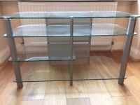 Glass TV & Entertainment Stand with shelves, in perfect condition