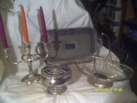 FOUR SILVER PLATE ITEMS, GALLERY TRAY, ROSE BOWL , CANDELABRA & BASKET . +++++++++
