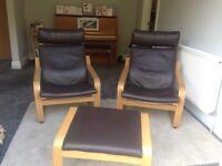 2 Ikea Poang chair with footstool brown leather oak veneer