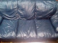 Dark blue Leather seater Sofa and 1 arm chair