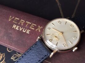 Stunning vintage 9k 9ct solid gold Vertex mens swiss watch with Box REDUCED