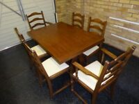 Old Charm Jaycee Solid Oak Extending Dining Table & 6 Chairs.