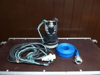 "Koshin Ponstar PXL-52511 1"" Submersible Water Pump with Layflat Discharge Hose - 110v"