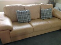 Cream leather 3 seater settee, armchair and pouffee