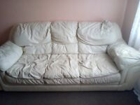 Cream sofa used but in good condition. House clearance