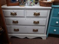 antique pine shabby chic chest of drawers