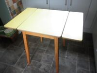 1960s Wooden Kitchen Table Yellow Formica Top + Drop Ends