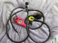 Oceanic full set of scuba diving regulators & triple console with pink cover