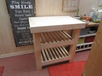 UNIQUE BESPOKE NEW HAND MADE BUTCHERS BLOCK KITCHEN ISLAND,SOLID WOOD. 35ins X 22ins X 34ins.