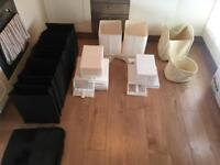 Assorted clothes and shoe storage