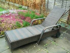 2 x All weather rattan recliners £40 each with full length cream pads
