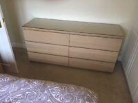 Ikea Malm chest of 6 drawers with glass top. As new only 6 months old