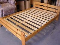 Ikea Solid Pine Wooden Double Bed Frames. Good Condition