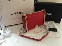 Chanel leboy 28cm bag. Genuine red lambskin leather.