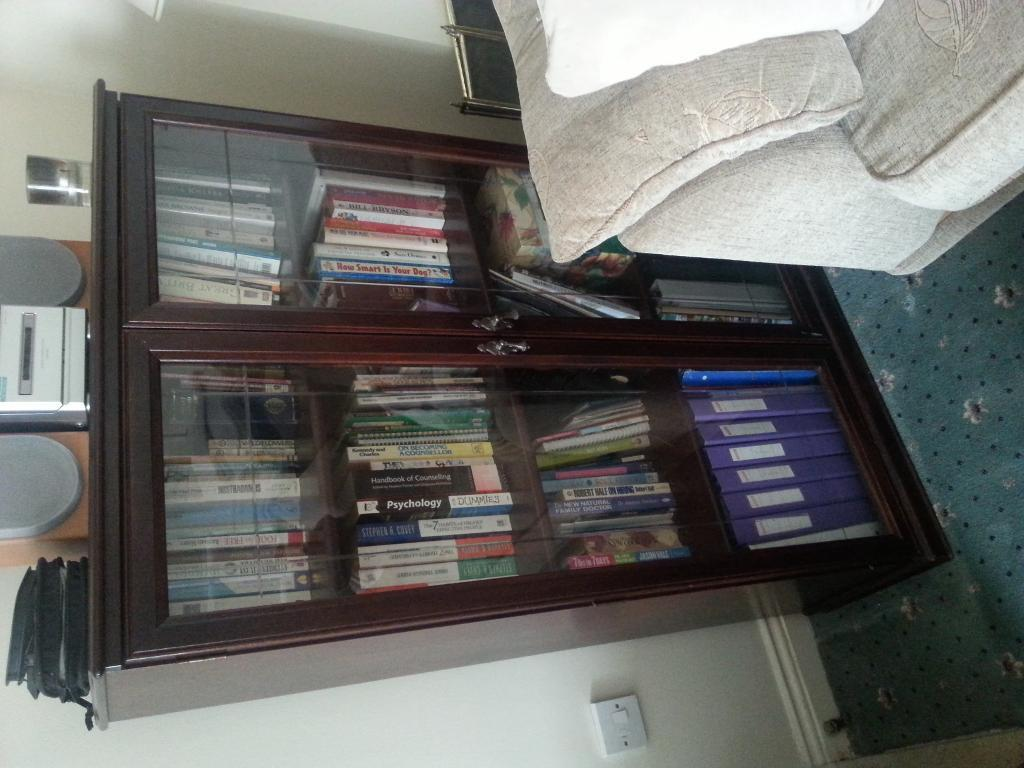 Book case solid wood with glass doors