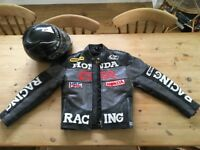 Leather Honda Racing motorcycle jacket (size XS) plus Nexx tri-composite helmet