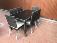 NEXT Rattan Garden Furniture Set, Dining Table with Six Chairs