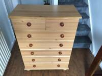 Pine effect 2 narrow 5 Wide Chest of Drawers - Argos