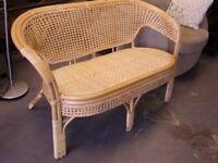 Lovely Lloyd Loom Rattan & Bamboo Bench Seat