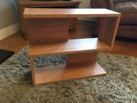 Oak effect s-shaped wall shelf