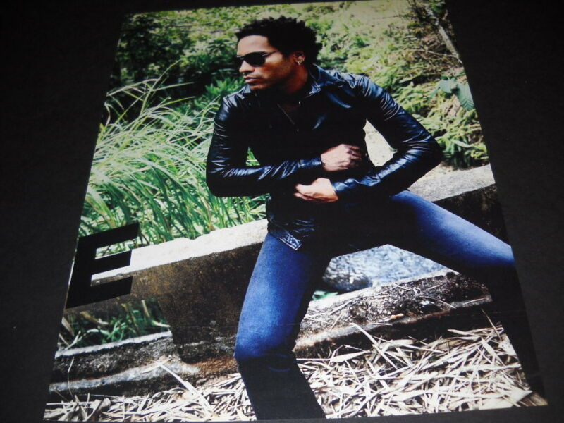 LENNY KRAVITZ tight jeans and tight leather jacket Original 2007 Promo Poster Ad