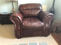 3 seater chocolate colour leather sofa and chair