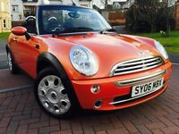 *SUPERB ORANGE*2006(06)MINI ONE 1.6 CONVERTIBLE WITH ONLY 61,000 MILES FSH 12 MONTHS WARRANTY*