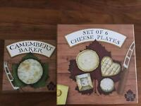Brand new and boxed Camembert baker and matching plates