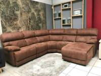 X DISPLAY ELECTRIC RRCLINER LARGE CORNER BROWN FABRIC SOFA SUEDE SETTEE COUCH FAST DELIVERY!!!