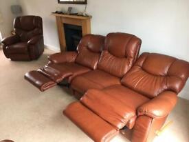 La-Z-Boy (lazy boy) reclining sofa and 2 arm chair