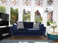 Blue Velvet NEXT Wilson Large Sofa (3 Seater)