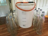 HOME BREWING EQUIPMENT - tub, electric heater and heavy duty bottles