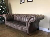 Handmade Bespoke Chestnut Leather Chesterfield Sofa