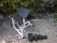 Preacher curling Station gym weights bench 60kg weight