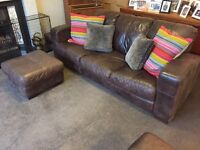 Leather Suite (Sofa / Chair and Footstool)