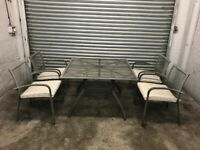 FREE DELIVERY GREY METAL GARDEN TABLE & 4 CHAIRS FURNITURE SET GOOD CONDITION
