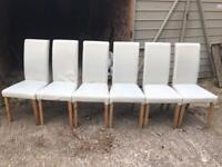 Dining Chairs Oak Faux leather x6