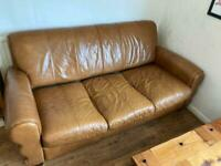 FREE DELIVERY - Leather Sofa and Armchair with Footstool
