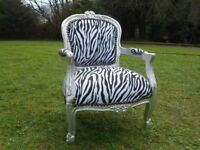 Childs Silver Zebra Cloth Armchair