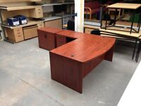EXECUTIVE DARK WOOD RADIAL L SHAPED OFFICE DESK, PEDESTAL & STATIONERY CUPBOARD