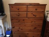 Solid pine chest of drawers in good condition good size drawers for £45 or nearest offer.
