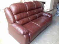 Comfy Quality Brown Leather 3 seater Sofa FREE delivery Very Good Condition