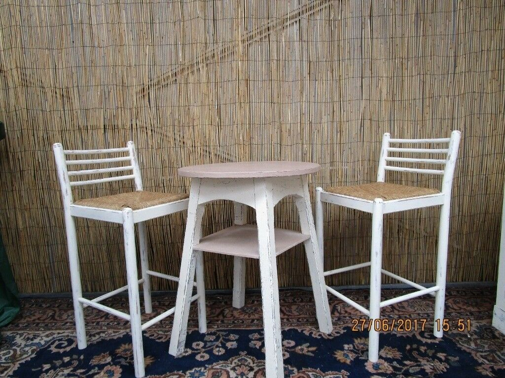 French Shabby Chic Bar Table Stools Breakfast Dining Set Kitchen Conservatory