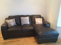 2 x 3 seater leather sofas with one with chaise longe