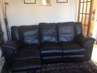 3 seater reclining leather sofa pick up only small discolouration