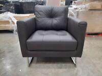 Dwell Paris leather arm chair brown